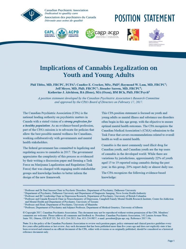 Psychiatrists urge government to consider mental health implications of cannabis legalization on youth