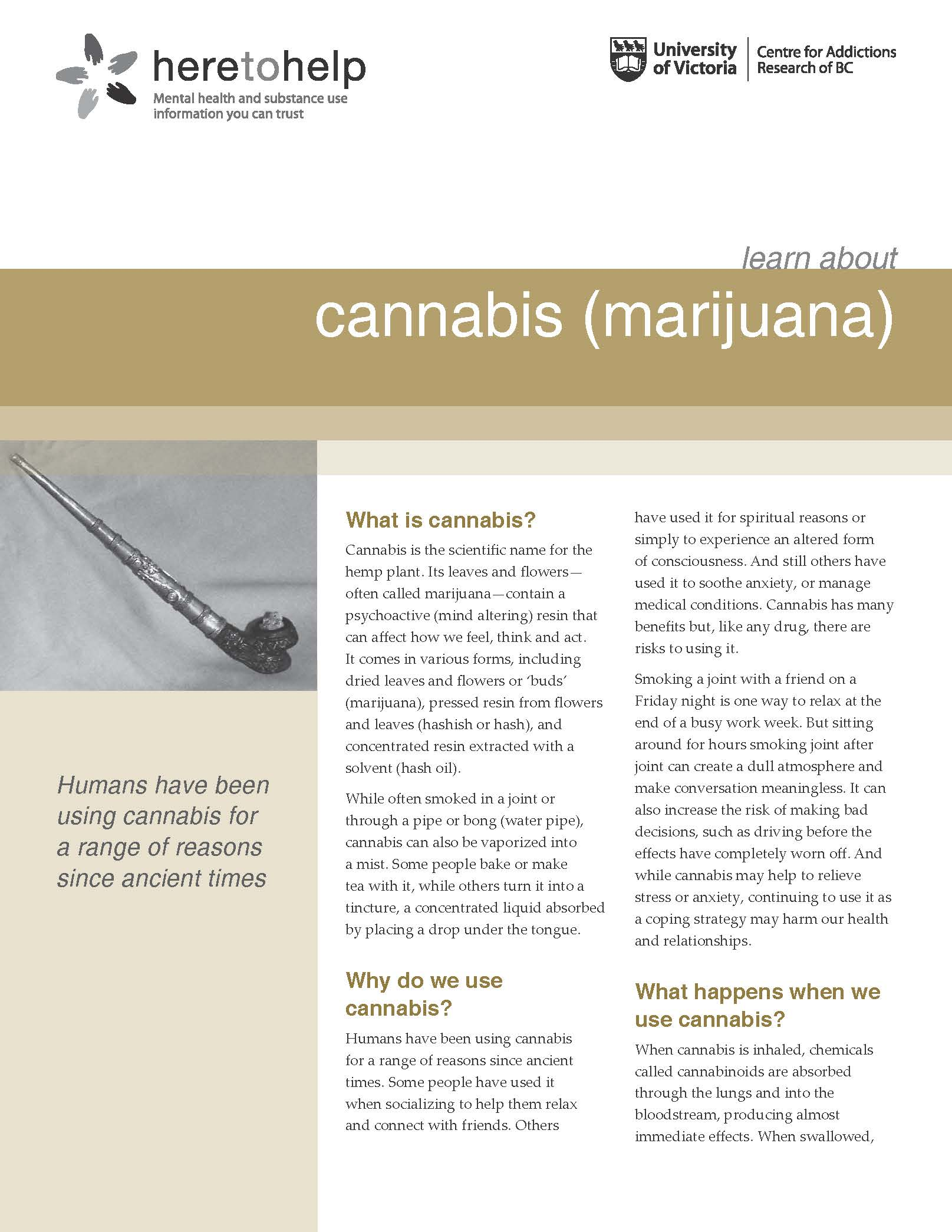 Here to Help: Learn About Cannabis (Marijuana) 2014
