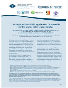Declaration de principes: Les répercussions de la légalisation du cannabis sur les jeunes et les jeunes adultes. Association des psychiatres du Canada. 2017.